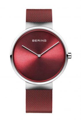 Reloj Bering rojo con correa de malla milanesa