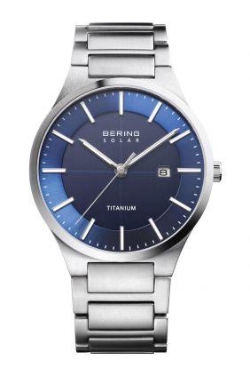 Reloj Bering titanium solar de hombre azul