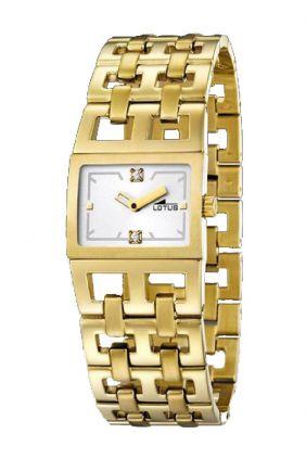 Reloj Lotus señora caja cuadrada chapado en oro