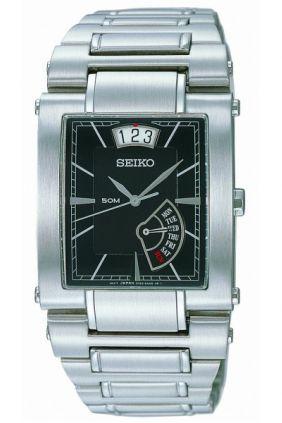 Reloj Seiko caballero rectangular esfera negra