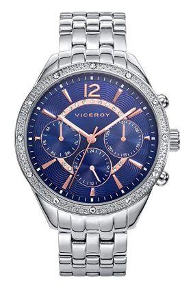 Reloj Viceroy señora esfera azul, bisel circonitas