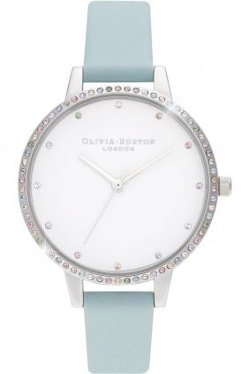Reloj mujer bisel Olivia Burton arcoiris turquesa y plata