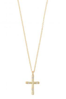 Salvatore collar plata chapado dorado cruz circonitas blancas