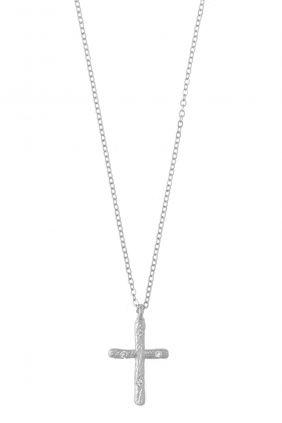 Collar Salvatore plata rodio cruz circonitas blancas