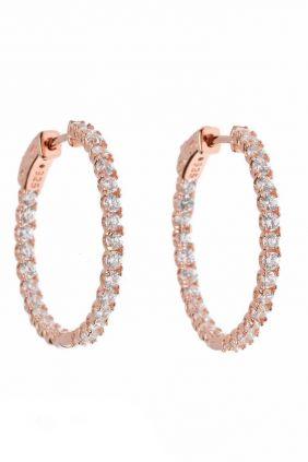 Salvatore pendientes plata chapado rosa aro circonitas blancas 20 mm