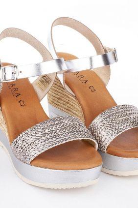 Comprar Sandalia cuña de vestir rafia Kelara K02642 plata