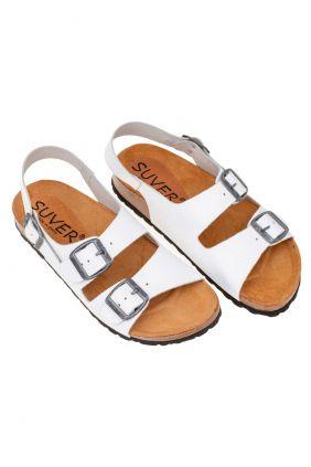Comprar online Sandalia dos hebillas con tira Suver Blancas 520015T
