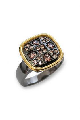 Sortija plata con oro amarillo y circonitas Boheme