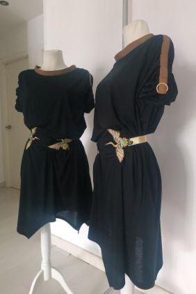 Vestido negro dos garzas Anna milittia