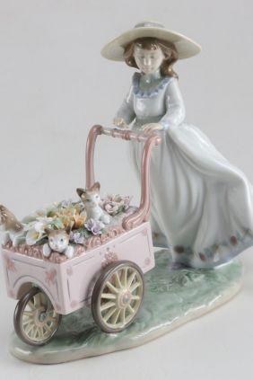 Lladró niña con carro flores gatos 6141
