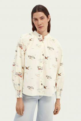 Camisa cuello fruncido Maison Scotch