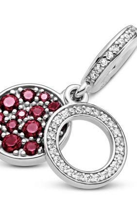 Pandora Charm Colgante en plata de ley Doble Disco Rojo Brillante