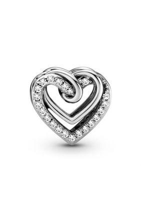 Pandora Charm en plata de ley Corazones Brillantes Entrelazados