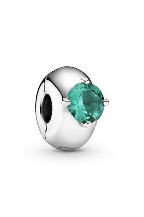Pandora Clip en plata de ley Círculo Solitario Verde