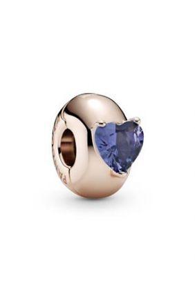 Pandora Clip en Pandora Rose Corazón Solitario Azul