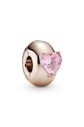 Pandora Clip en Pandora Rose Corazón Solitario Rosa