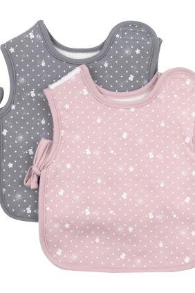 Set 2 baberos Tous Baby rosa / gris