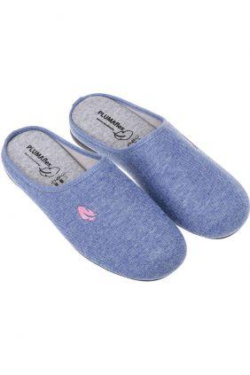 Comprar online Zapatilla descalza piso fino Plumaflex Azul y rosa hoja