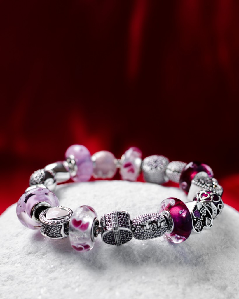 Plata con circonitas y cristal de murano. Pandora. Joyería Fuentefría
