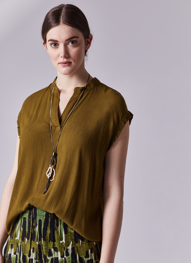 blusa verde adolfo dominguez