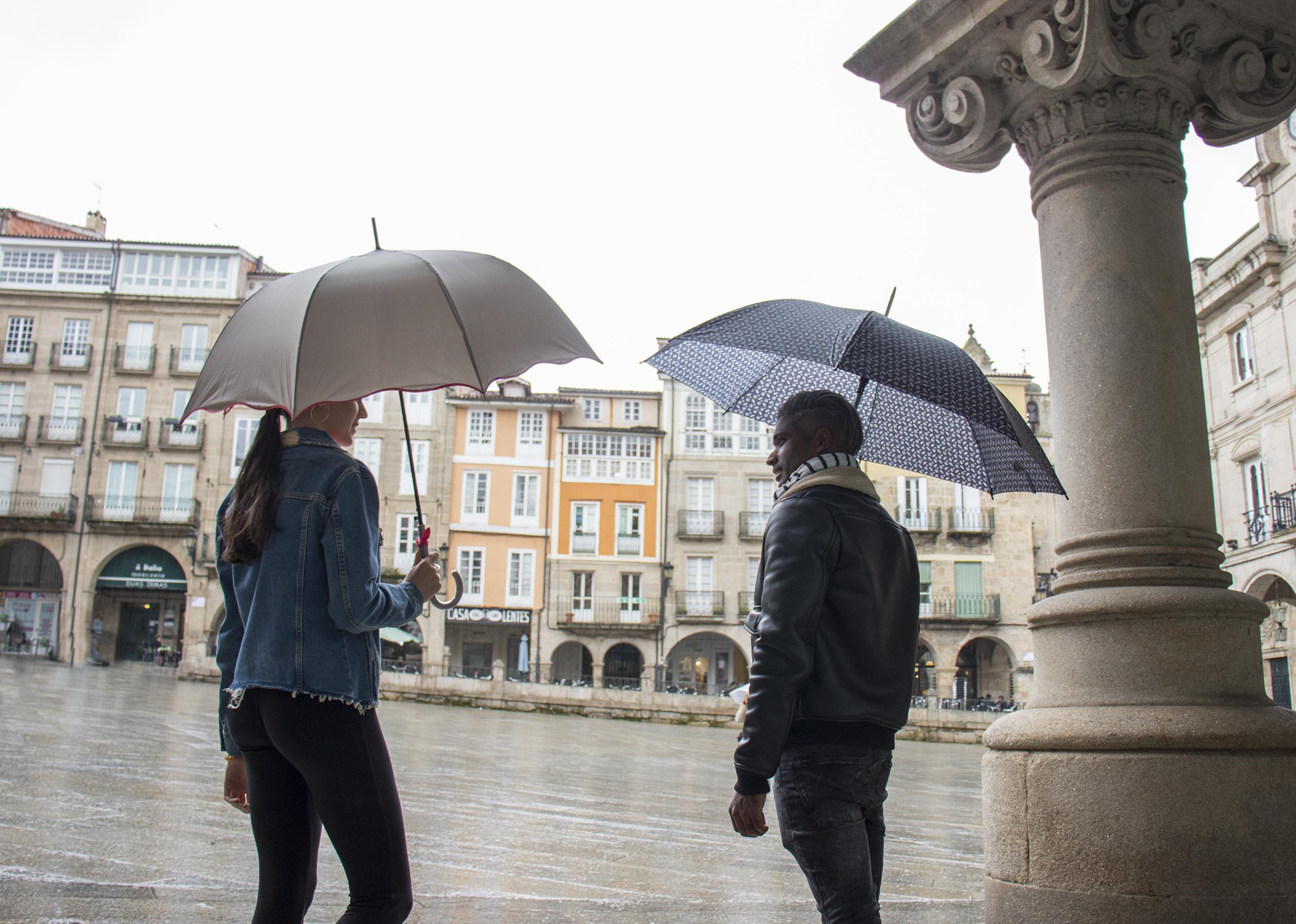 Paraguas gris y estampado
